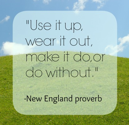 """Use it up, wear it out, make it do, or do without."" -New England Proverb"