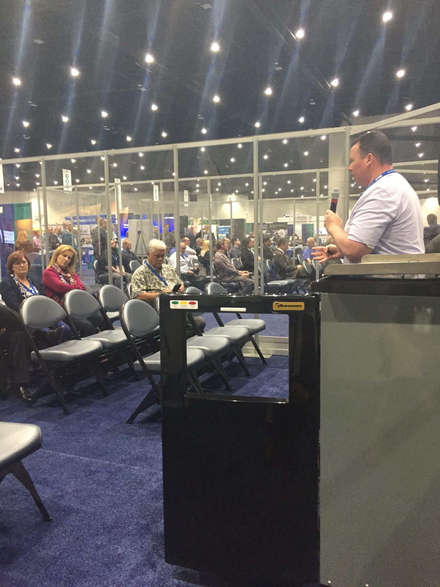National Sales Manager, Nick Roberts, presents Harmony's solutions for airport waste at the Innovation Theater
